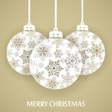 Merry Christmas and Happy New Year. Beautiful gift card with christmas balls. Royalty Free Stock Image