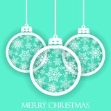 Merry Christmas and Happy New Year. Beautiful gift card with hanging christmas balls. Elegant background for a Christmas design Royalty Free Stock Images