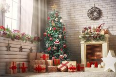 Room decorated for Christmas. Merry Christmas and Happy New Year! A beautiful living room decorated for holidays stock photography