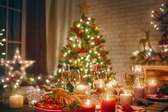 Room decorated for Christmas Royalty Free Stock Image