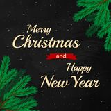 Merry Christmas and Happy New Year 2017 on black chalf board. Design template with Fir branches Stock Photo