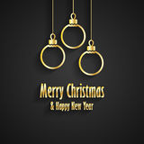 Merry Christmas and Happy New Year black greeting card. Merry Christmas and Happy New Year greeting card with three gold Christmas toys stock illustration