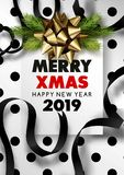 Merry Christmas and happy new year 2019 black snowy poster. Merry Christmas and happy new year 2019 festive poster with fur tree branches and ribbons. Vector vector illustration
