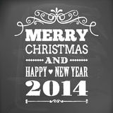 Merry christmas and happy new year 2014 on blackboard card Stock Photo
