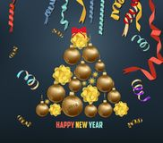 Merry christmas and  happy new year 2018 blooming and gold balls Stock Image