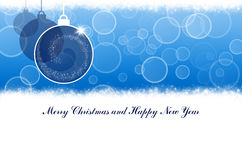 Merry Christmas and Happy New Year blue background with balls Royalty Free Stock Photo