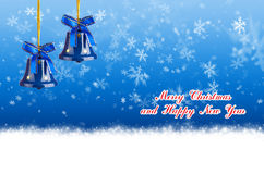 Merry Christmas and Happy New Year blue background with bells Stock Image