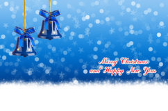 Merry Christmas and Happy New Year blue background with bells Stock Photo