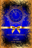 Merry Christmas & Happy New Year blue background w. Vector Merry Christmas & Happy New Year blue background with gold decorations Stock Photo