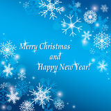 Merry christmas and happy new year - vector blue background. Merry christmas and happy new year - blue vector background Royalty Free Stock Photo