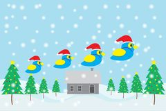 Merry christmas and Happy New Year, Blue bird wearing Santa Claus hat. With Christmas tree - house and snows background vector illustration