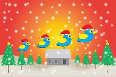 Merry christmas and Happy New Year, Blue bird wearing Santa Claus hat. With Christmas tree - house and snows background royalty free illustration