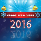 Merry Christmas and happy new year 2016 on blue ray background Stock Image