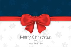 Merry Christmas and Happy New Year. Blue and white background with red bow and snowflakes. Greeting card template. Vector Royalty Free Stock Photography