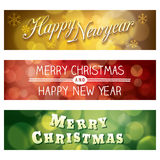 Merry Christmas and Happy New Year Bokeh Background Banne royalty free illustration