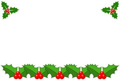 Merry Christmas Happy New Year border corner. Holy berry. Eps 10 vector illustration