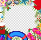 Merry christmas and happy new year border in a warm climate desi Stock Images