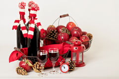Merry Christmas and happy New year. Bottles of wine in a knitted Stock Photo