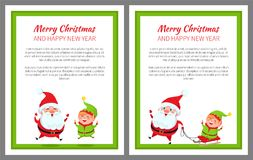 Merry Christmas Happy New Year Bright Banner. With Santa Claus and his helper elf on white background. Vector illustration with characters in green frame vector illustration