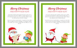 Merry Christmas Happy New Year Bright Poster. With Santa Claus and Elf on sledge, vector illustration with fairy tale characters in green square frame stock illustration