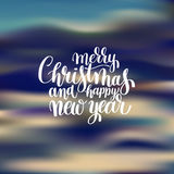 Merry Christmas and Happy New Year calligraphic hand lettering   Stock Image