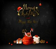 Merry Christmas and Happy New Year calligraphic inscription. Holiday symbols and gifts. Stock Photos