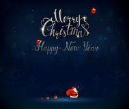 Merry Christmas and Happy New Year calligraphic inscription. Santa Claus goes through the dark blue night forest with a Royalty Free Stock Images