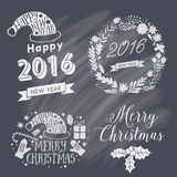 Merry Christmas And Happy New Year Calligraphic labels, letters elements. Christmas set labels, emblems and other decorative logos.  vector illustration