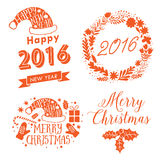 Merry Christmas And Happy New Year Calligraphic labels, letters elements. Christmas set labels, emblems and other decorative logos stock illustration