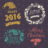 Merry Christmas And Happy New Year Calligraphic labels, letters elements. Christmas set labels, emblems and other decorative logos vector illustration