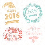 Merry Christmas And Happy New Year Calligraphic labels, letters elements. Christmas set labels, emblems and other decorative logos. With 2016 sign, hat, mittens vector illustration