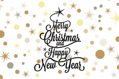 Merry Christmas and happy new year calligraphic lettering with balck tree and golden stars on white background - Vector greeting. Card Royalty Free Stock Image