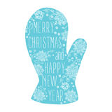Merry Christmas And Happy New Year Calligraphic mitten. Royalty Free Stock Images