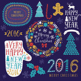 Merry Christmas And Happy New Year Calligraphic, mitten, wreath, frames, 2016 handmade sign. Christmas set - labels, emblems and o. Ther decorative elements royalty free illustration