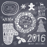 Merry Christmas And Happy New Year Calligraphic, mitten, wreath, frames, 2016 handmade sign. Christmas set - labels, emblems and o. Ther decorative elements stock illustration