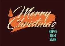 Merry Christmas and Happy New Year. Calligraphic retro Christmas greeting card design. Typographic vintage style grunge poster. Re Royalty Free Stock Images