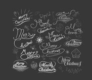 Merry Christmas and Happy New Year calligraphic and Typographic Background.  Stock Image