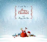 Merry Christmas and Happy New Year calligraphy inscription. Festive symbols on the Holiday background. Merry Christmas and Happy New Year calligraphy Stock Photography