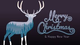 Merry Christmas, happy new year, calligraphy, landscape winter, vector illustration stock illustration