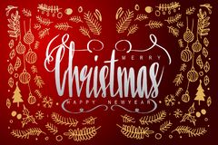 Merry Christmas and Happy new year, calligraphy lettering in dar. K background with golden elements, illustration vector design Royalty Free Stock Photos
