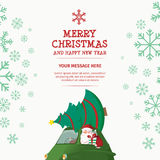 Merry Christmas and Happy New Year Car. Santa Tree Gift Design Template Stock Illustration