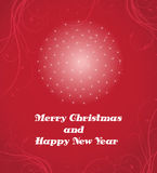 Merry Christmas and Happy New Year card. On red vector illustration