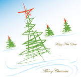 Merry Christmas and Happy New Year card. Vector illustration of holiday card stock illustration