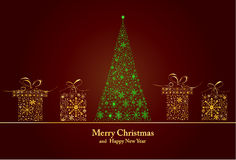 Merry Christmas and Happy New Year. Card stock illustration