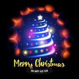 Merry Christmas and Happy New Year card. Abstract christmas tree with glowing balls and sparkles background. Royalty Free Stock Photography