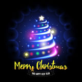 Merry Christmas and Happy New Year card. Abstract christmas tree with glowing balls and sparkles background. Vector eps10 illustration Stock Photography