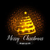 Merry Christmas and Happy New Year card. Abstract golden christmas tree on sparkles background. Vector eps10 illustration. Royalty Free Stock Photography