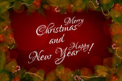 Merry Christmas and Happy New Year Card Royalty Free Stock Photography