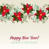 Merry Christmas and Happy New Year Card. Christmas background stock illustration