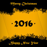 Merry Christmas and Happy New Year 2016 card background. Black and golden Merry Christmas and Happy New Year 2016 card background Stock Image